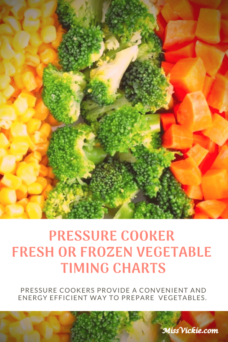 Pressure Cook Fresh Frozen Vegetable Timing Charts