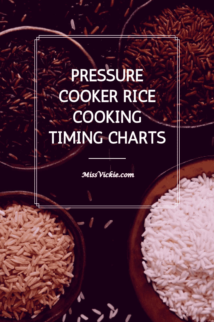 Pressure Cook Rice Timing Charts