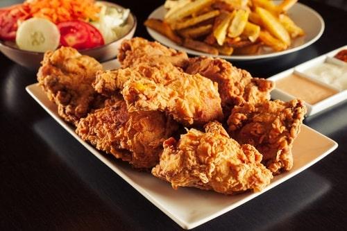 Broasted chicken is deep-fried under pressure