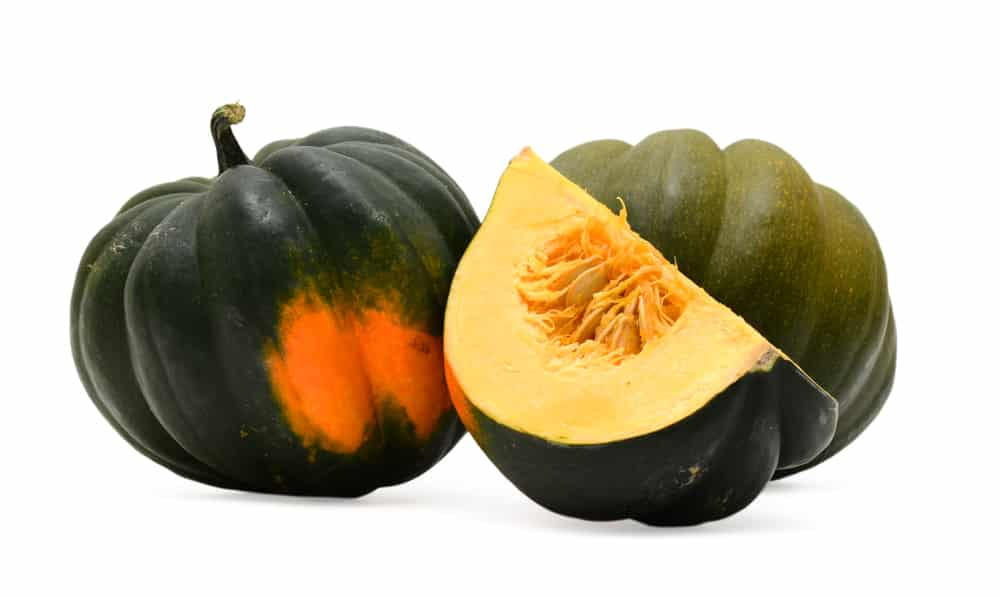 Acorn squash with dark green color and a few orange spots on the bottom