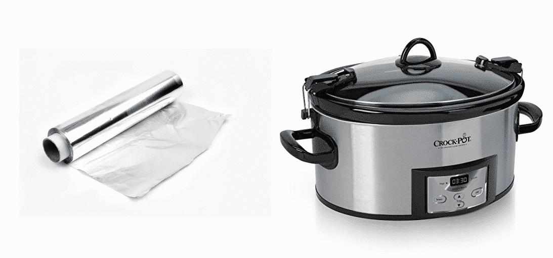 can you put aluminum foil in a crock pot