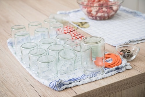 Dry the sterile jars on a clean towel