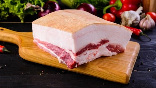 A thick layer of pork fat