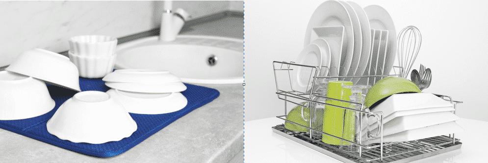 dish drying mat vs rack